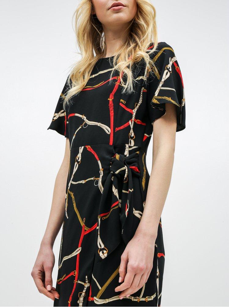 Čierne vzorované šaty so zaväzovaním Dorothy Perkins