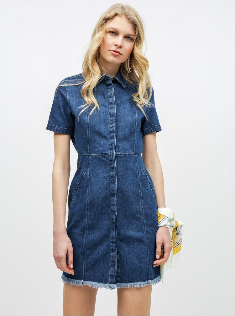 Modré rifľové košeľové šaty Noisy May Ariel