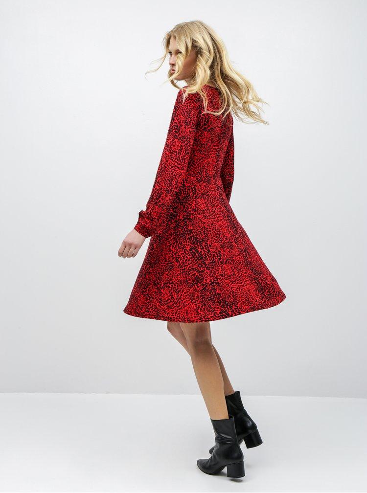 Rochie negru-rosu cu motiv ghepard Dorothy Perkins
