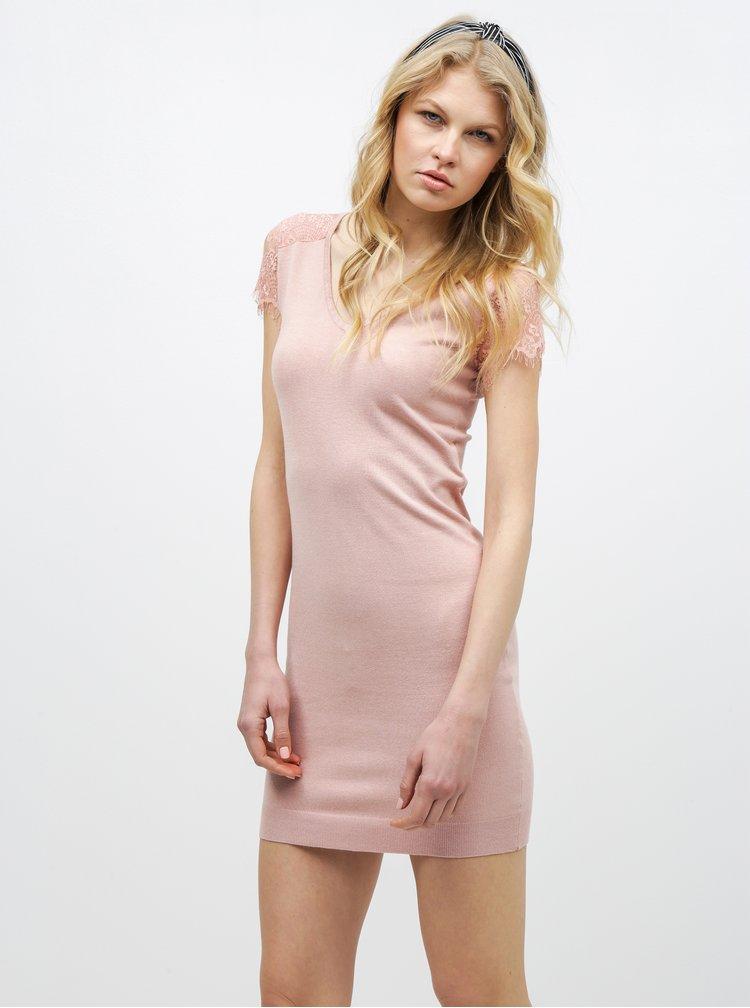 Růžové šaty s krajkovými rukávy VERO MODA Lassi