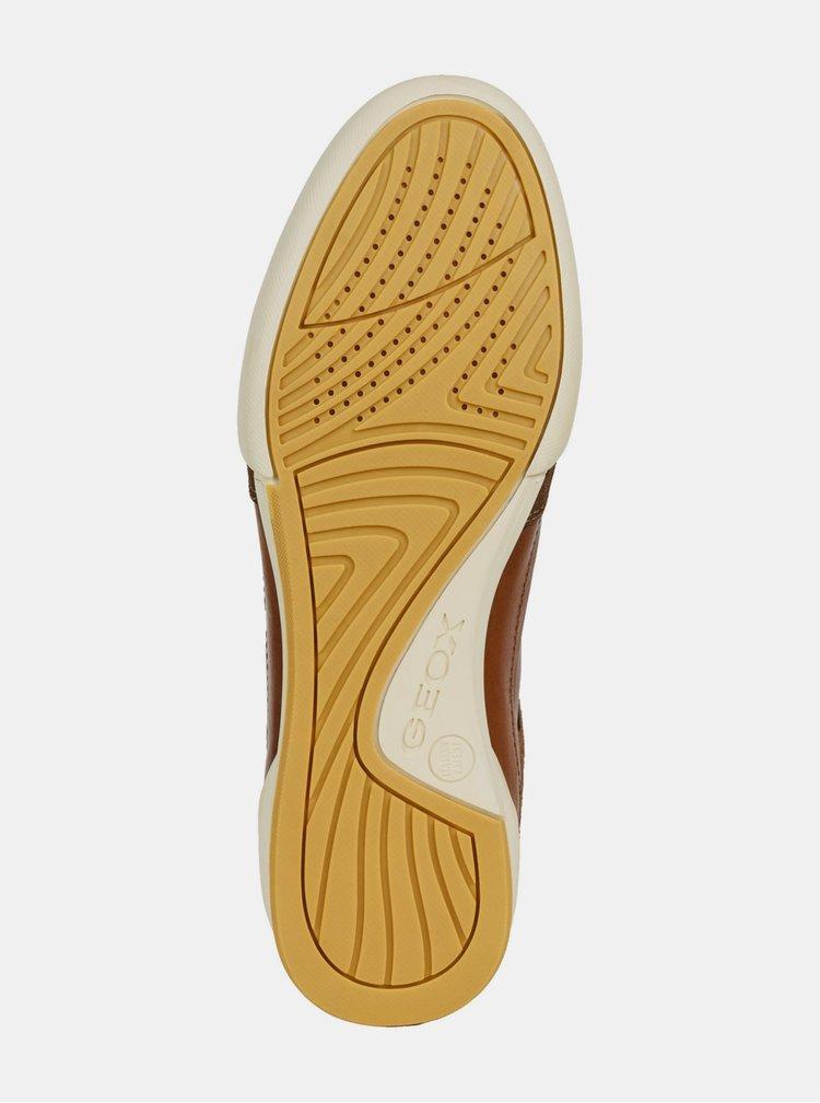 Hnedé pánske kožené tenisky so semišovými detailmi Geox Kristof