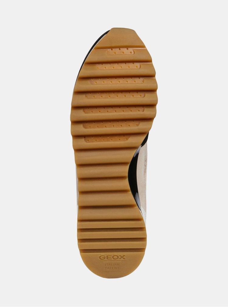 Čierno–béžové dámske tenisky so semišovými detailmi Geox Tabely