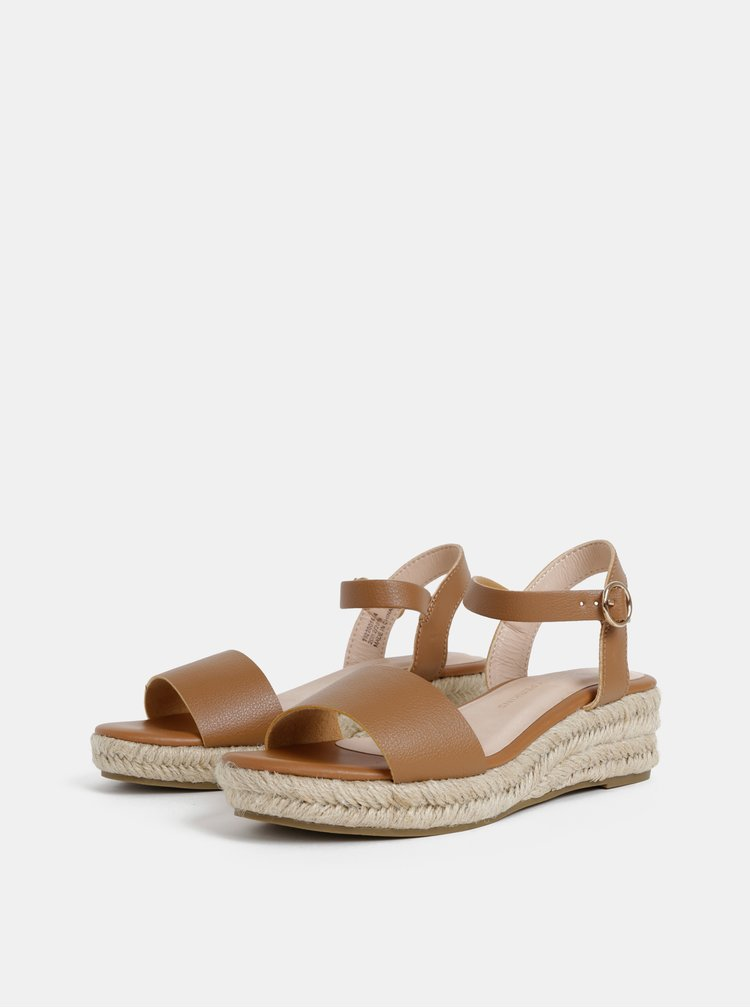 Sandale maro cu platforma wedge Dorothy Perkins