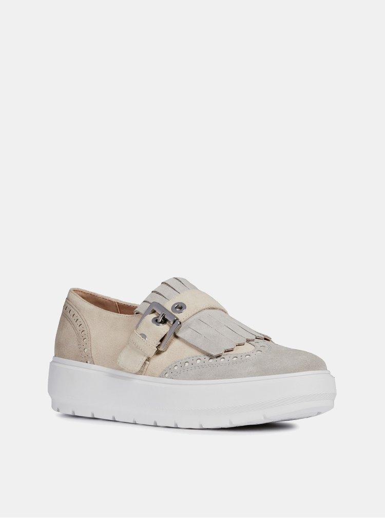 Pantofi slip on bej de dama din piele intoarsa cu platforma Geox Kaula