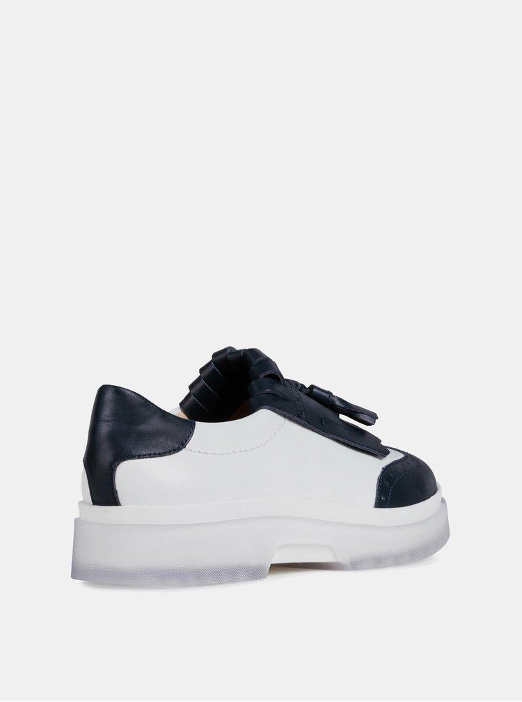Pantofi slip on alb-albastru de dama din piele Geox Myluse
