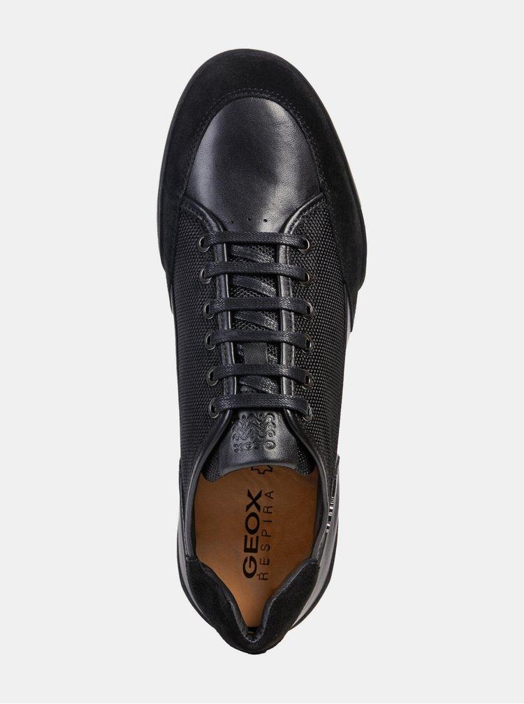 Čierne pánske tenisky s koženými detailmi Geox Kristof