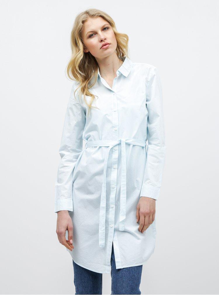 Světle modré košilové pruhované šaty s páskem VERO MODA Silje
