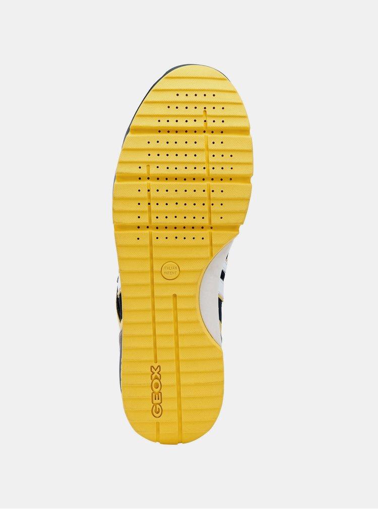 Žlto–modré pánske nepremokavé tenisky so semišovými detailmi Geox Sandford
