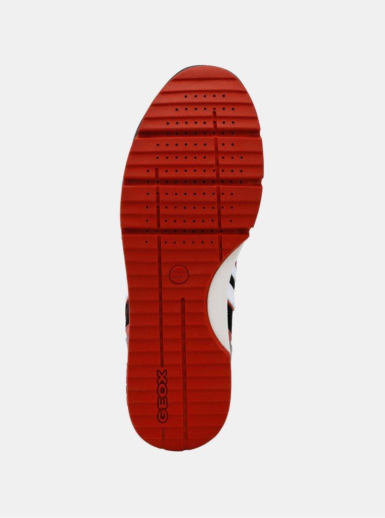 Červeno-černé pánské voděodolné tenisky se semišovými detaily Geox Sandford