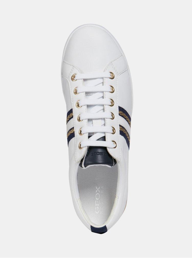 Biele dámske kožené tenisky Geox Jaysen