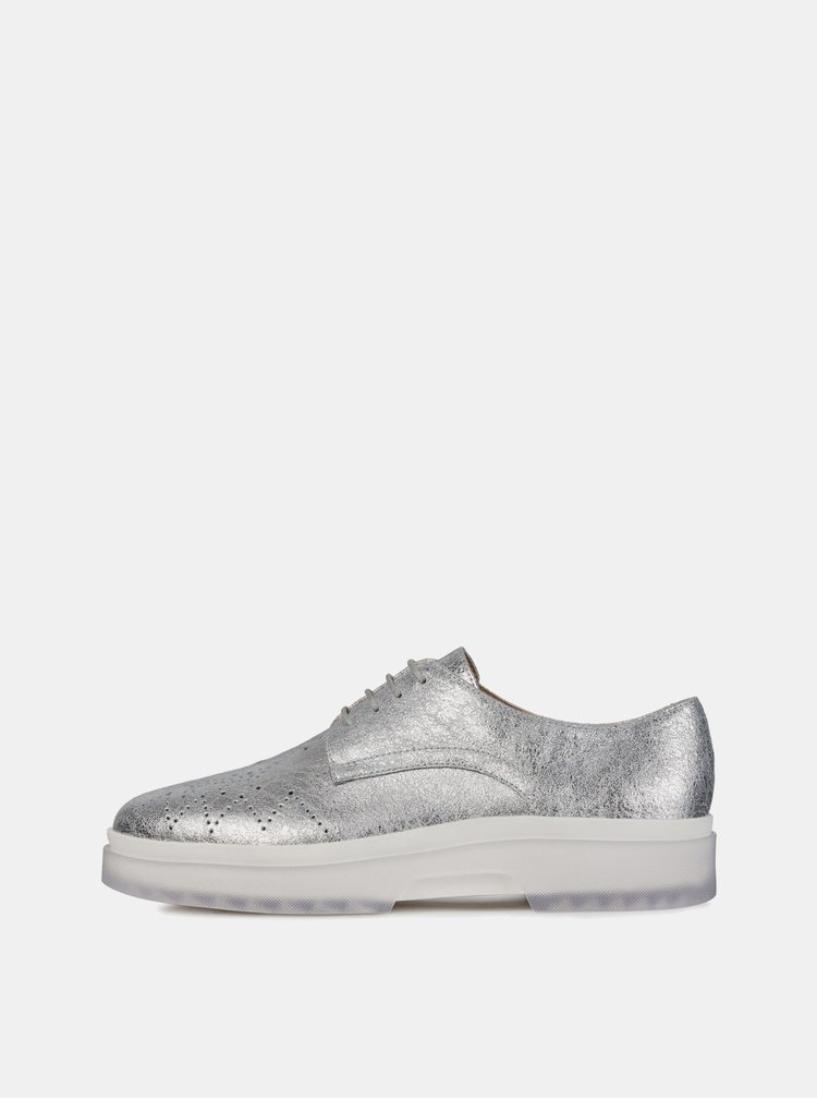 Pantofi argintii de dama din piele Geox Mysule