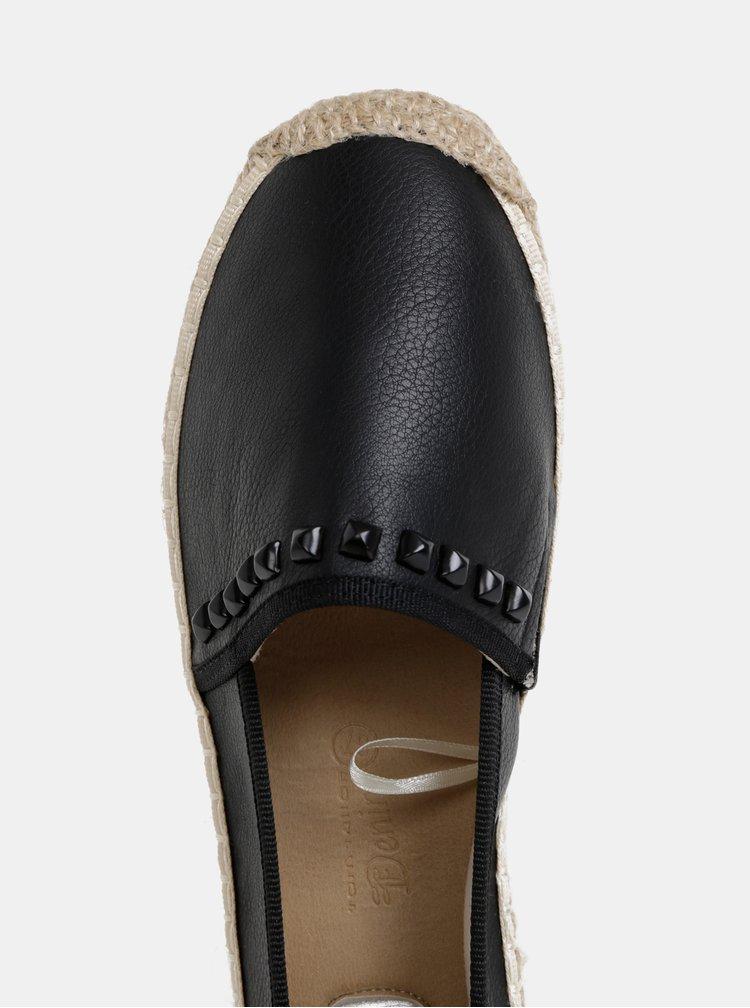 Čierne dámske espadrilky s ozdobnými detailmi Tom Tailor Denim