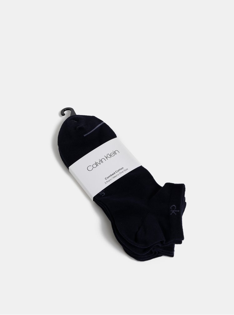 Sada tří párů tmavě modrých pánských ponožek Calvin Klein Jeans
