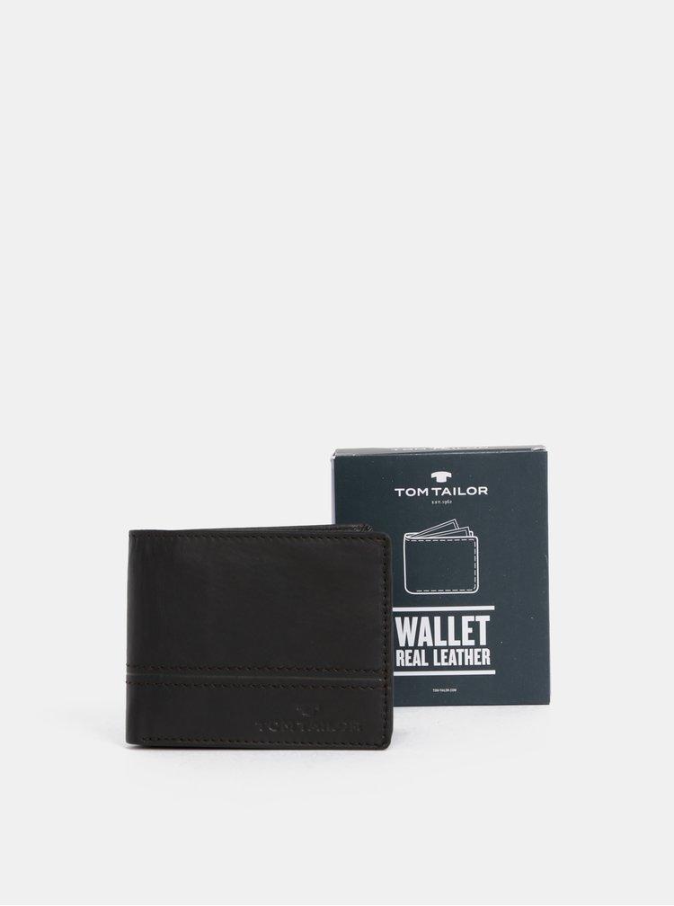Tmavohnedá pánska kožená peňaženka Tom Tailor Jerrie