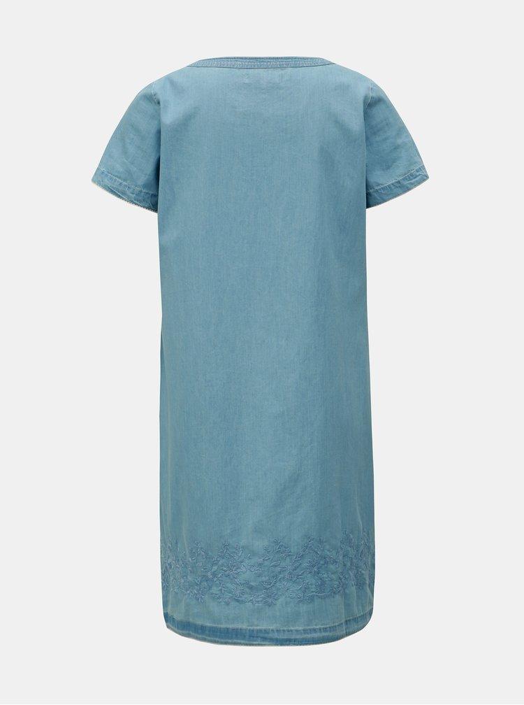 Světle modré šaty s výšivkou a ozdobnými lemy Brakeburn
