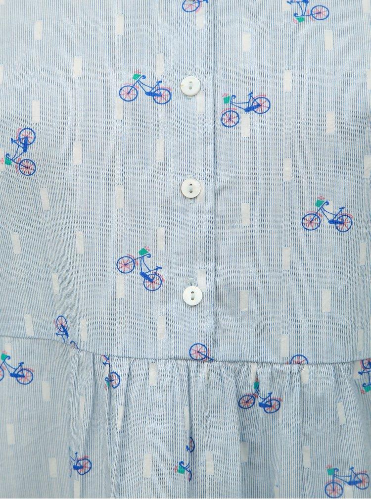 Světle modrá volná vzorovaná halenka s knoflíky Brakeburn