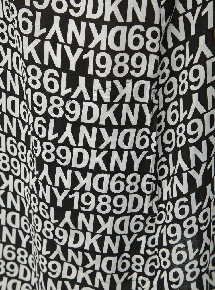 Bielo–čierna vzorovaná nočná košieľka DKNY