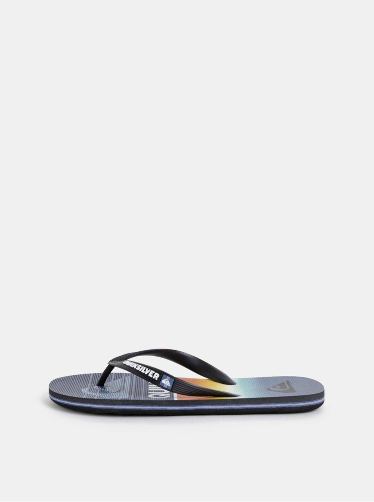 Papuci flip-flop barbatesti albastru inchis cu model Quiksilver Molo Hight Line