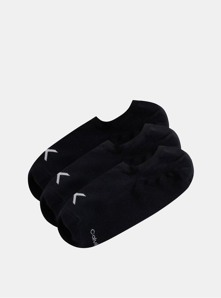 Sada tří párů černých pánských kotníkových ponožek Calvin Klein Jeans