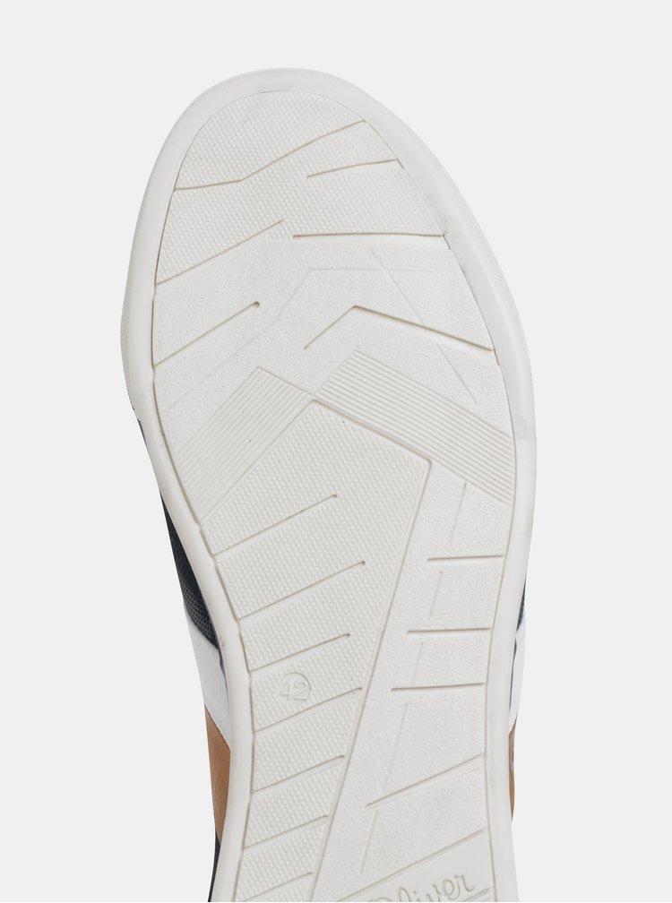 Tmavomodré pánske kožené tenisky so semišovými detailmi s.Oliver