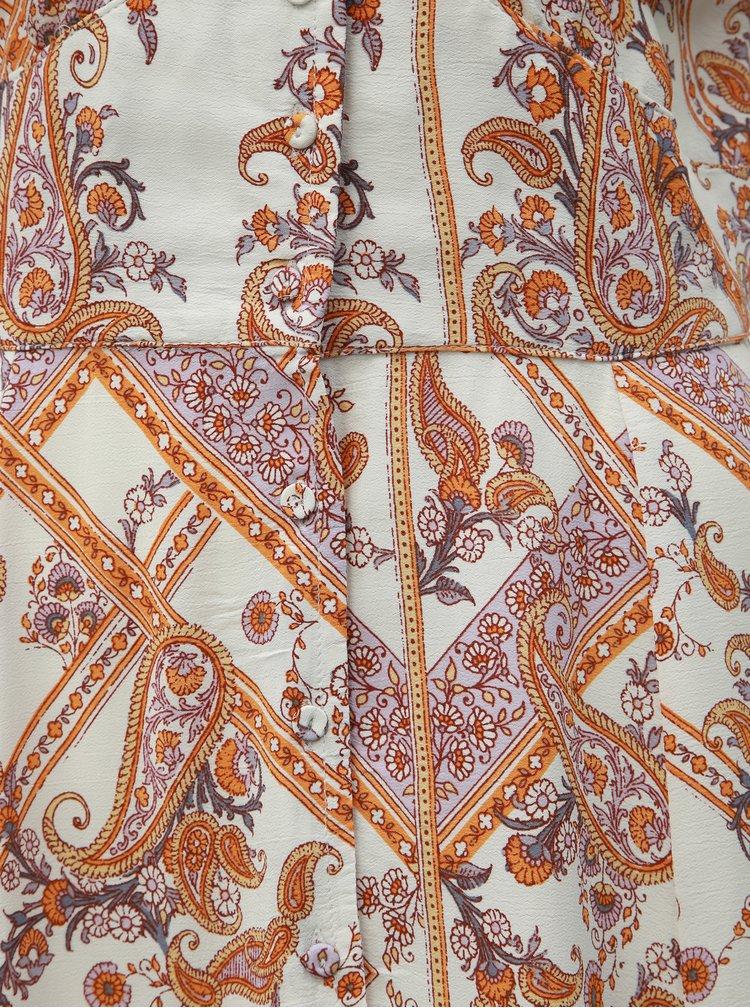 Oranžovo-bílé vzorované maxišaty s rozparky Miss Selfridge