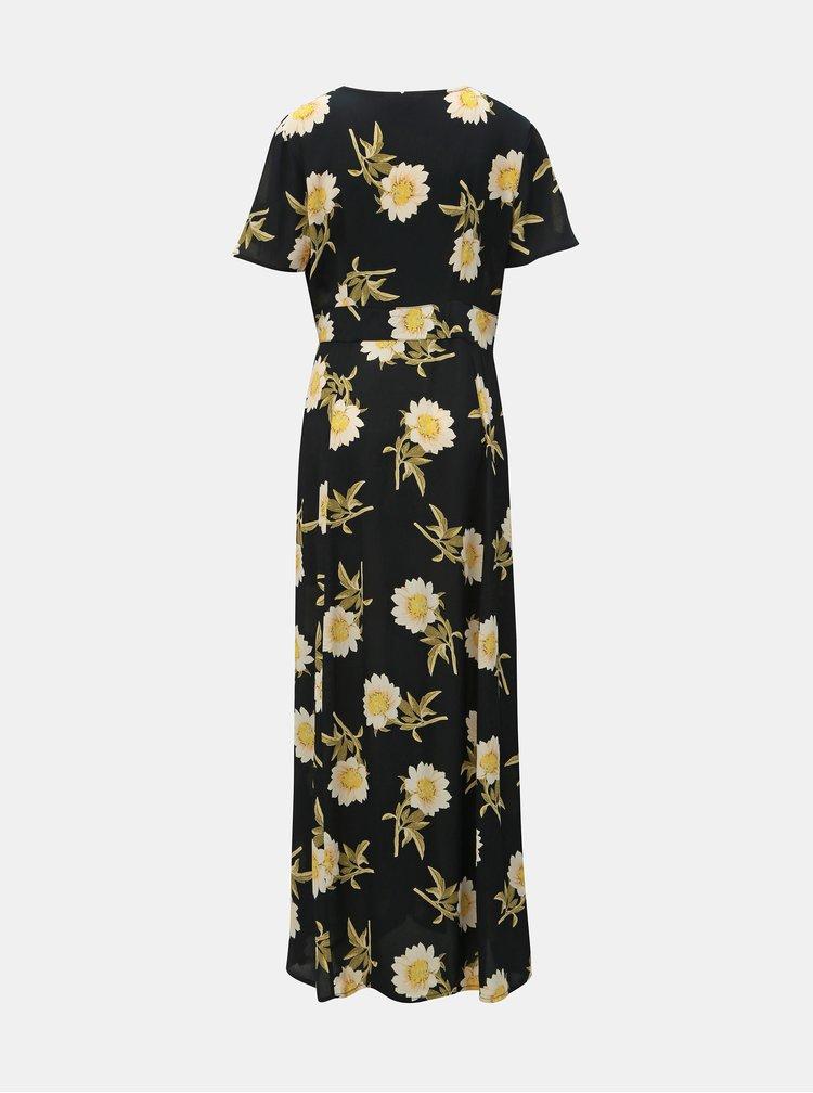 Rochie maxi neagra florala cu taieturi Miss Selfridge