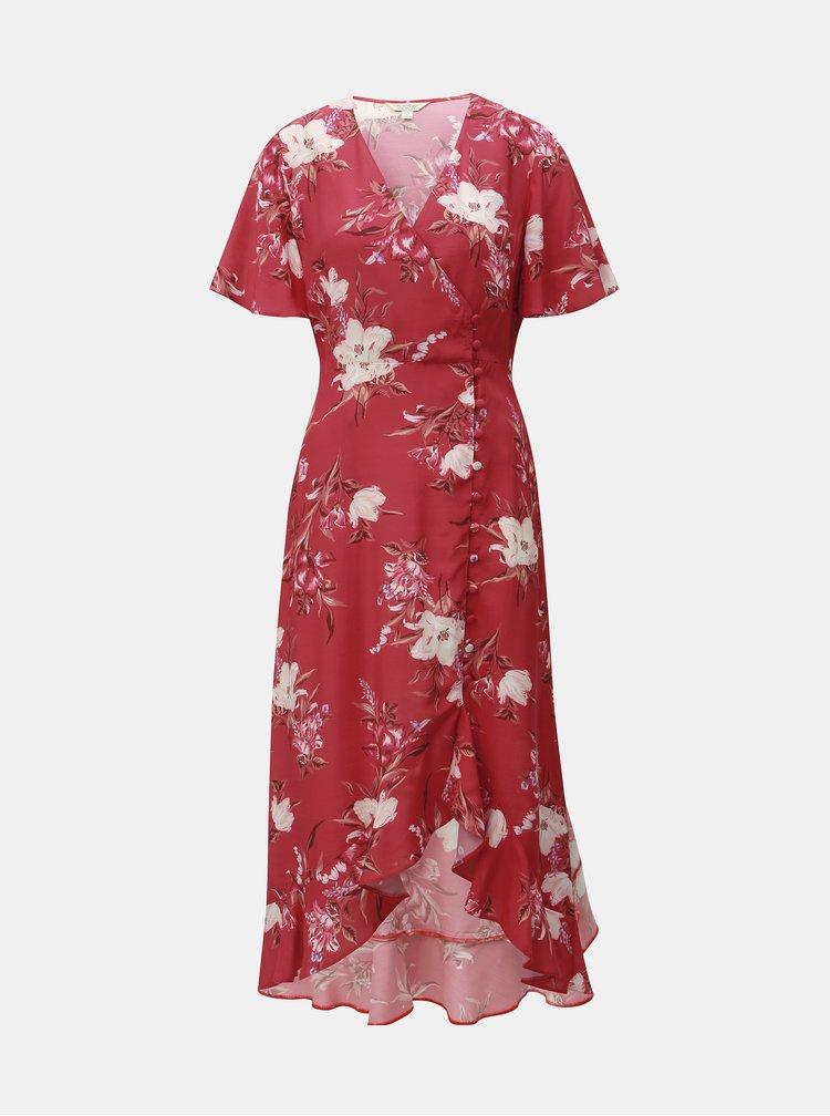 Červené kvetované zavinovacie šaty Miss Selfridge