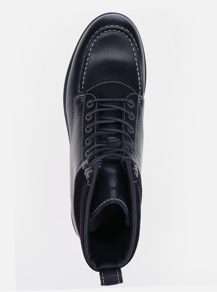 Tmavomodré pánske kožené členkové topánky Tommy Hilfiger Rudy