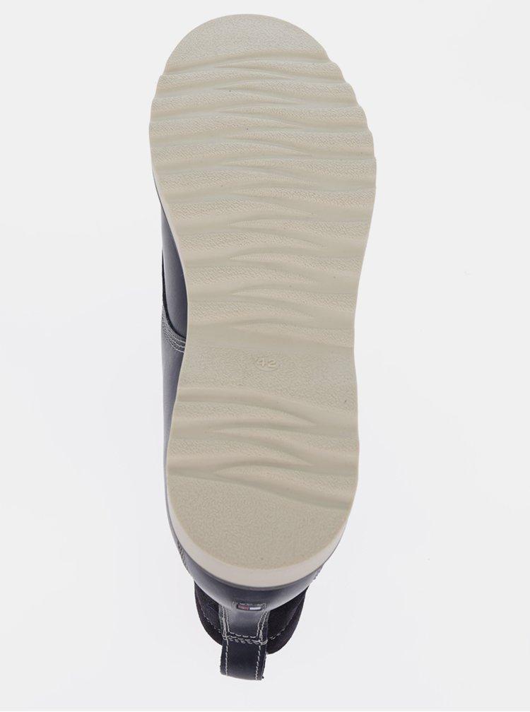 Tmavě modré pánské kožené kotníkové boty Tommy Hilfiger Rudy