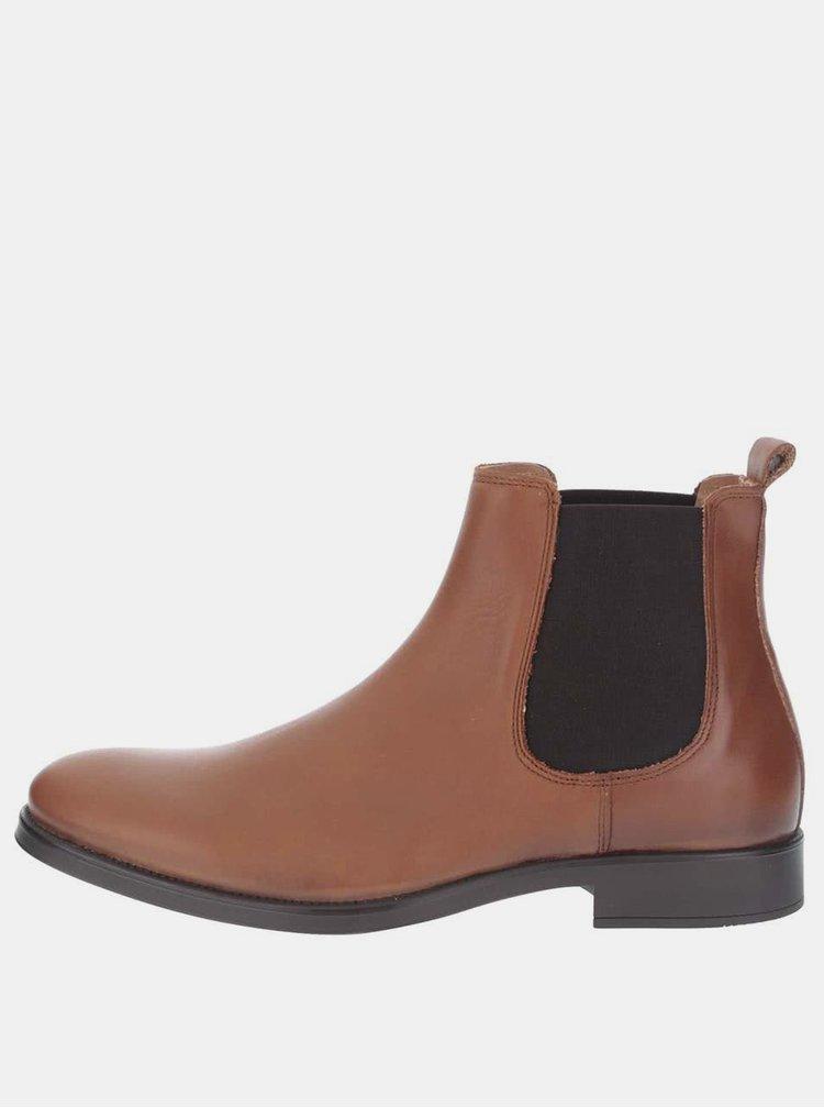Hnedé pánske kožené chelsea topánky Selected Homme Oliver