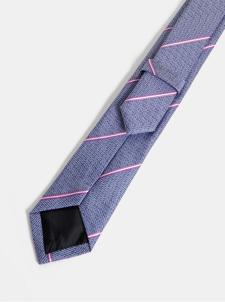 Modrá pruhovaná slim kravata Burton Menswear London