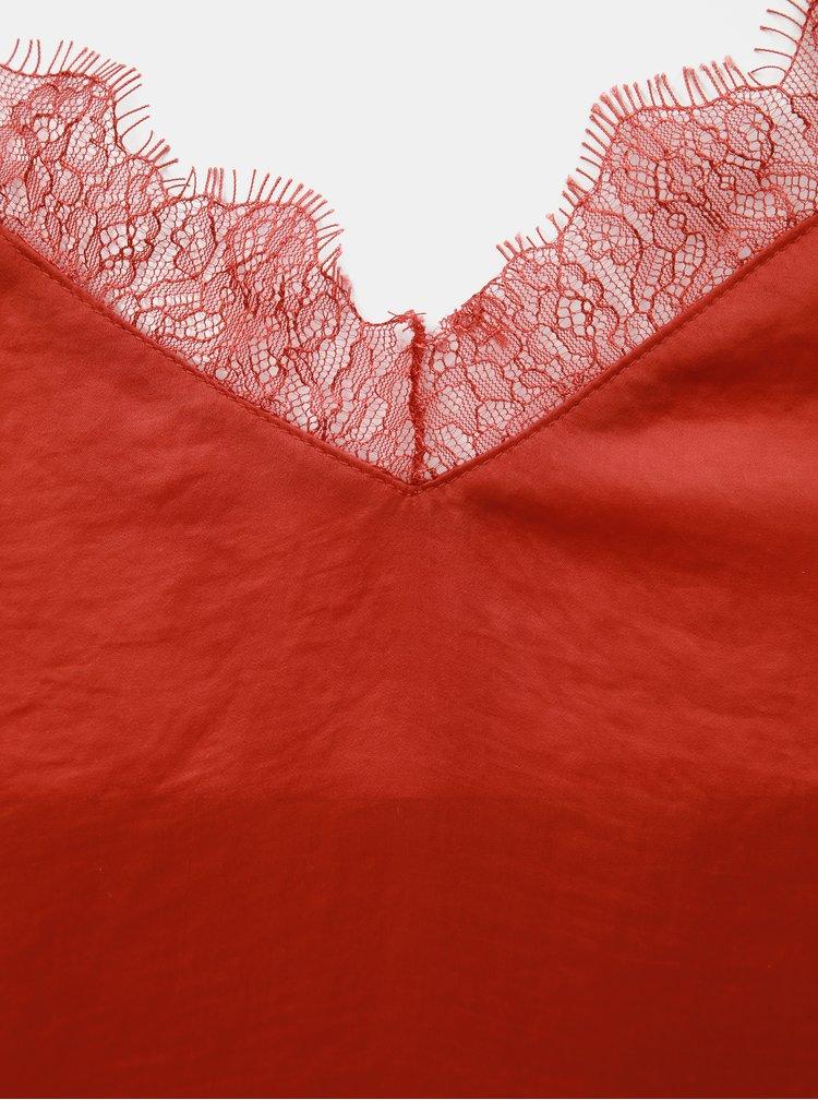 Červený top s čipkou TALLY WEiJL