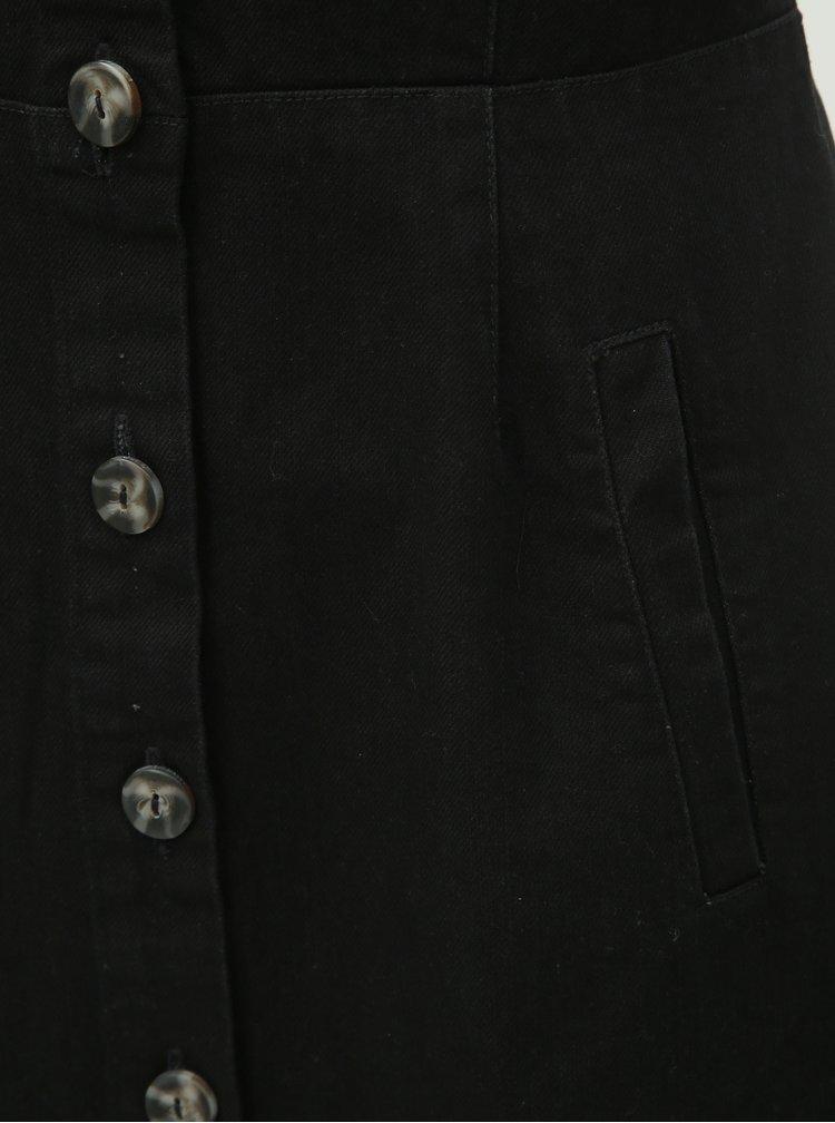 Černé džínové šaty s knoflíky Dorothy Perkins