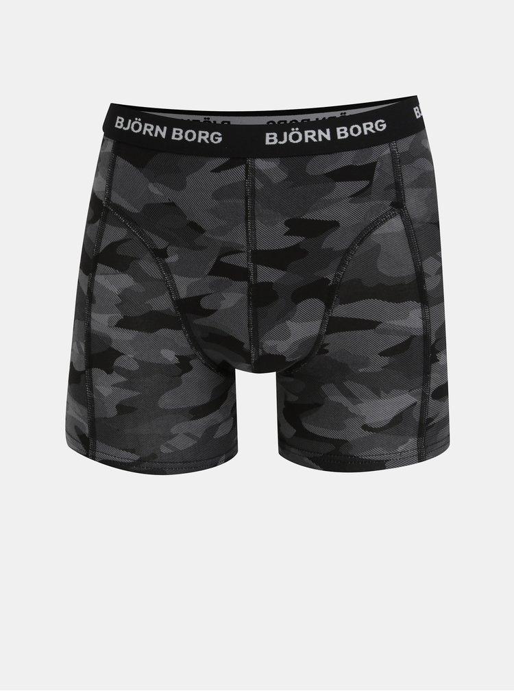 Sada tří boxerek v černé a šedé barvě se vzorem Björn Borg