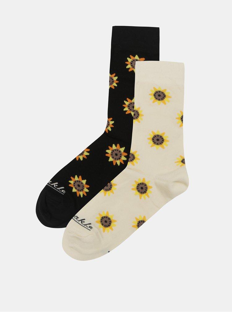 Béžovo-černé ponožky s motivem slunečnice Fusakle Slnečnice