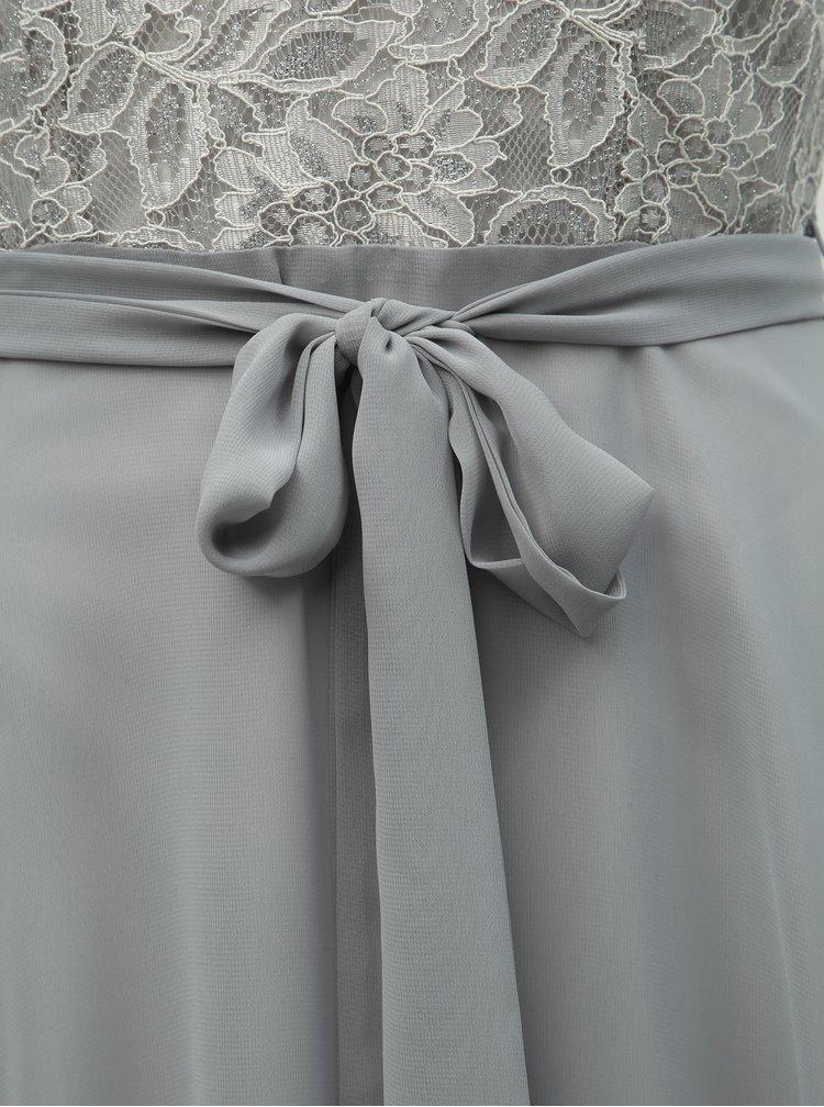 Světle šedé šaty s krajkou Billie & Blossom