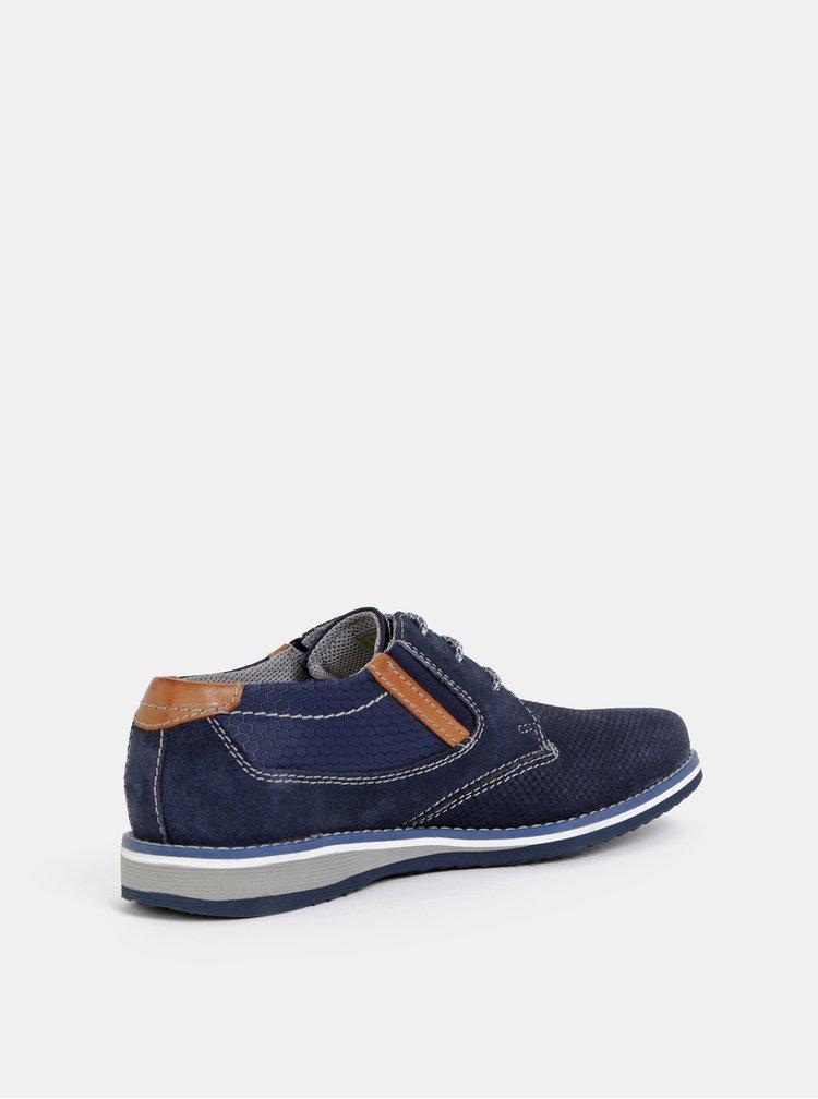 Pantofi barbatesti albastru inchis din piele intoarsa bugatti