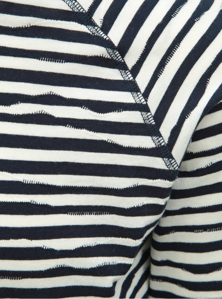 Tricou alb-albastru in dungi cu maneci lungi Dstrezzed