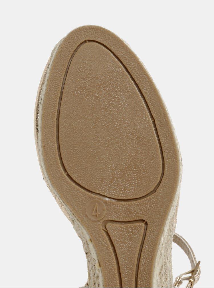 Sandále na plnom podpätku v zlatoružovej farbe Dorothy Perkins