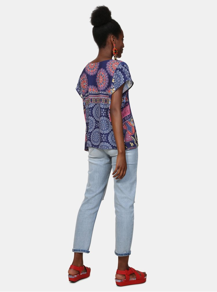 Bluza albastra cu model Desigual Latil