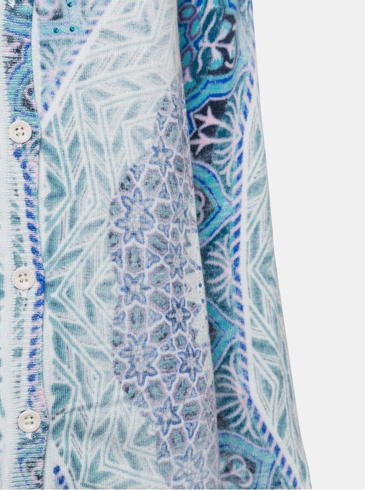 Cardigan albastru cu model Desigual Adare