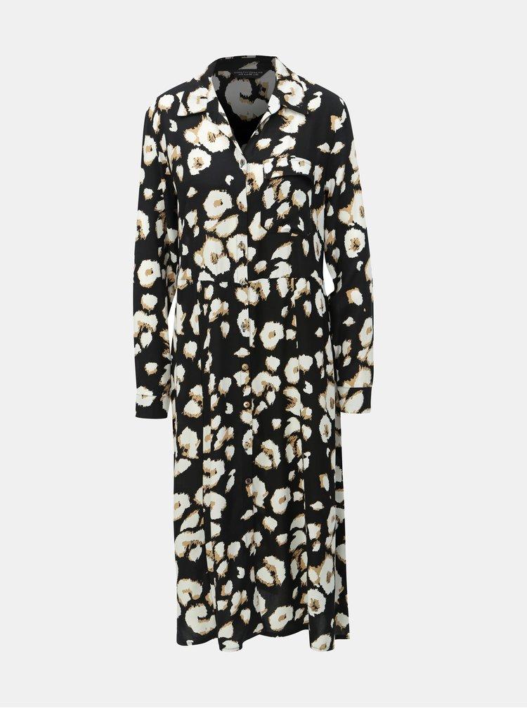 Černé košilové šaty s leopardím vzorem Dorothy Perkins