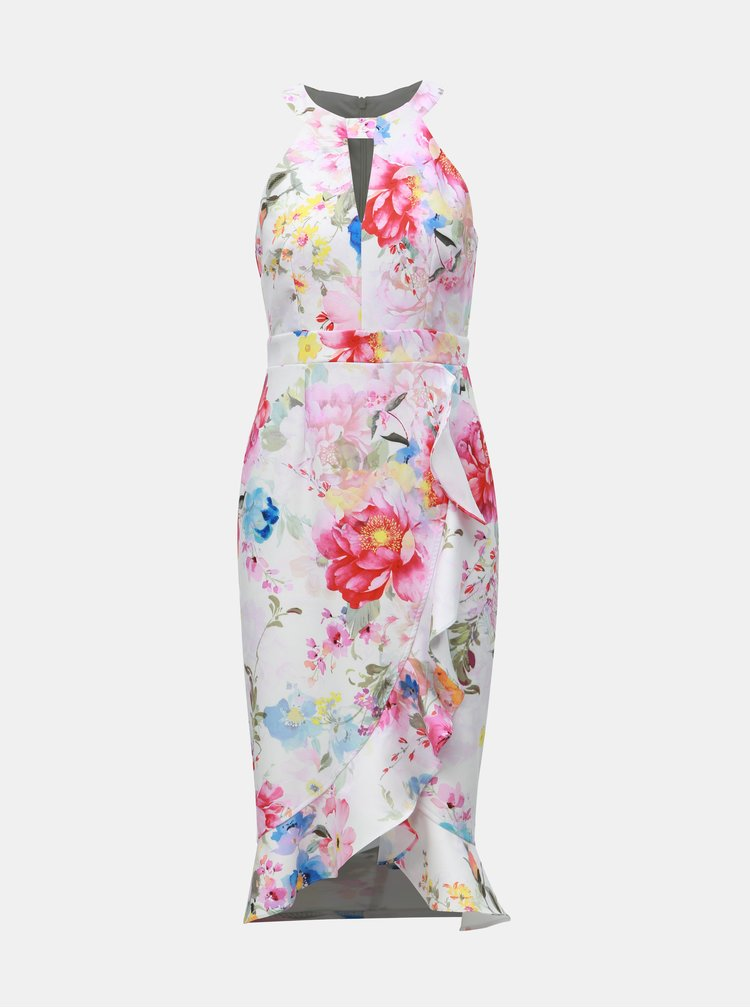 Bílé květované pouzdrové šaty s volánem Dorothy Perkins