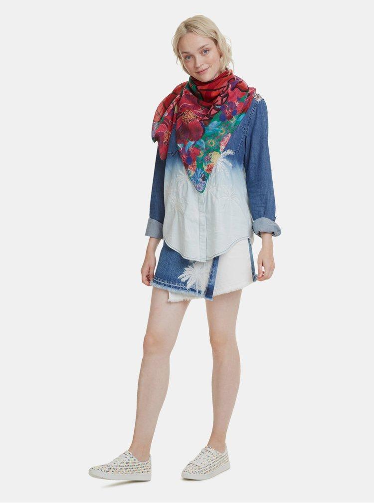 Růžovo-červený vzorovaný šátek Desigual Japtiger 40