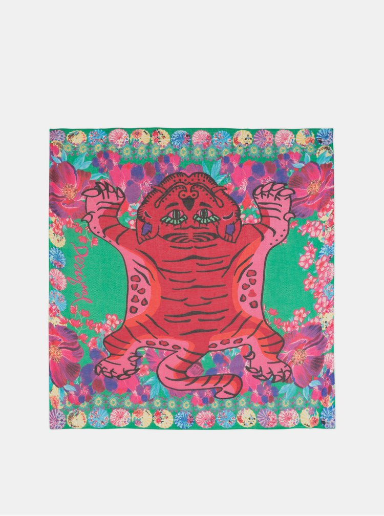 Ružovo–červená vzorovaná šatka Desigual Japtiger 40