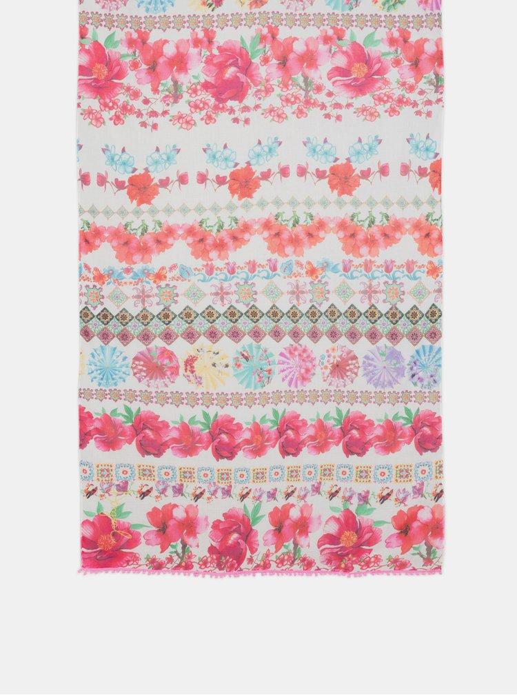 Růžový květovaný šátek s bambulemi Desigual Geisha 36