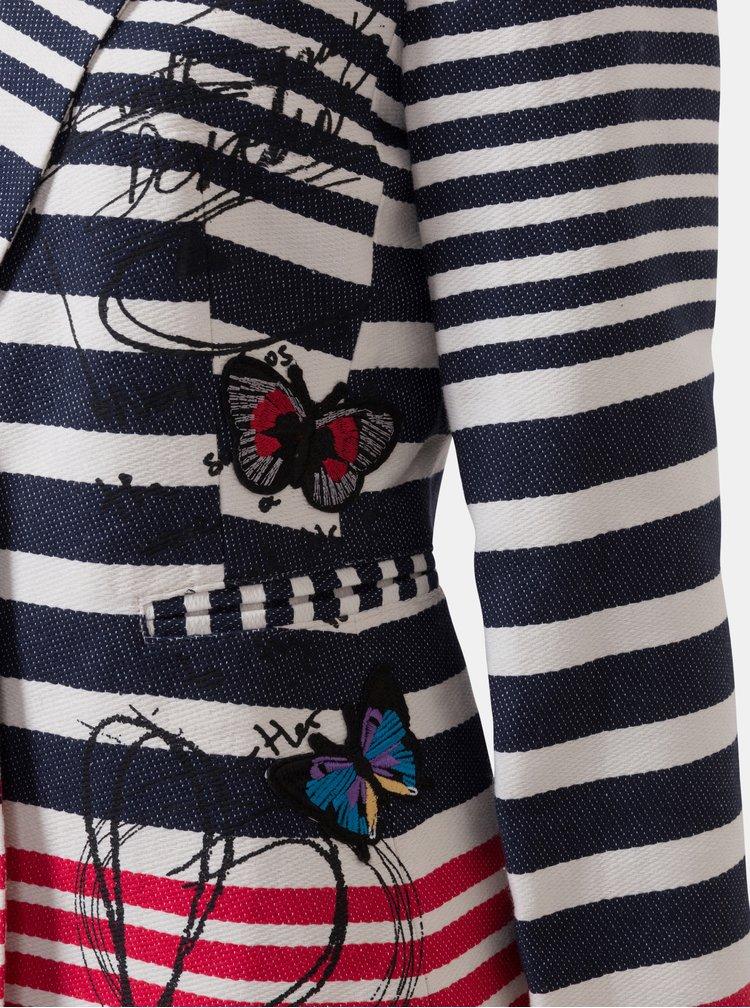 Krémovo–modré pruhované sako s výšivkou Desigual Brenda
