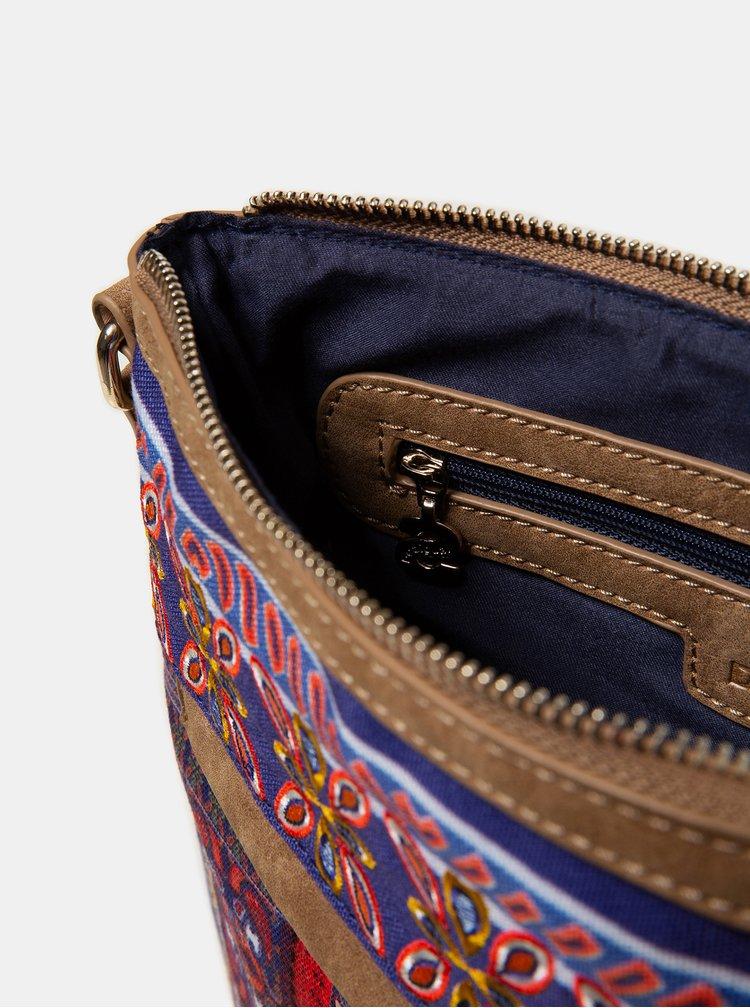 Červeno-modrá vzorovaná crossbody kabelka Desigual Alanis Kaua