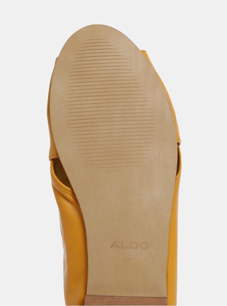 Horčicové dámske kožené šľapky ALDO Rireviel