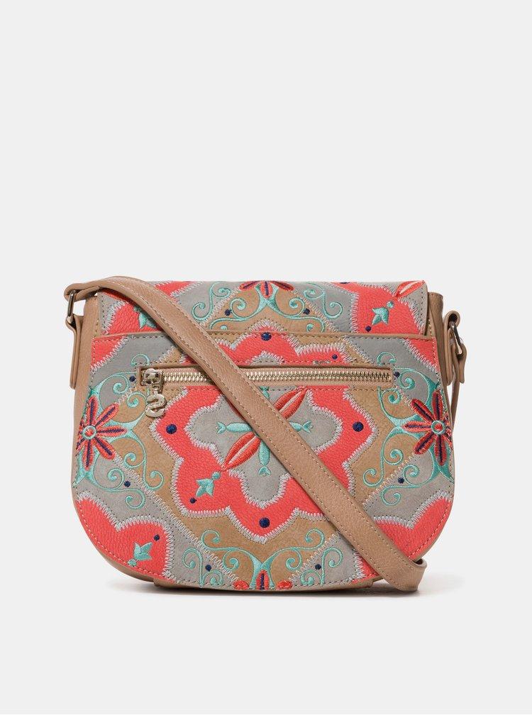 Červeno-hnědá crossbody kabelka s výšivkami Desigual Mary